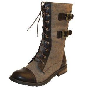 Groove Boho Brown vegan Leather Combat Moto Boots